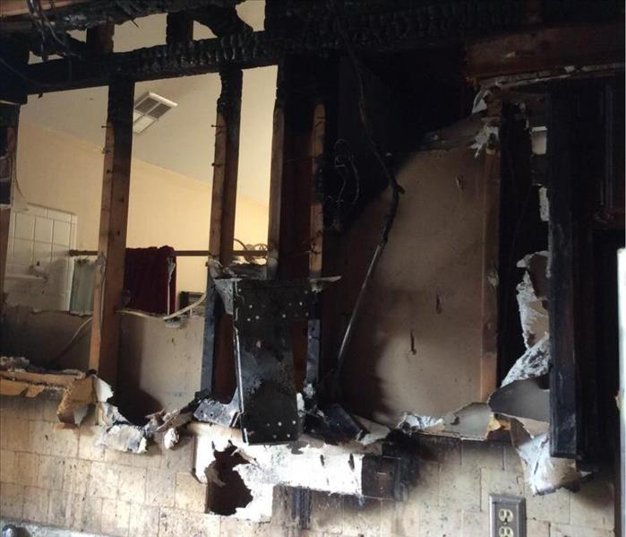 Kitchen affected by fire